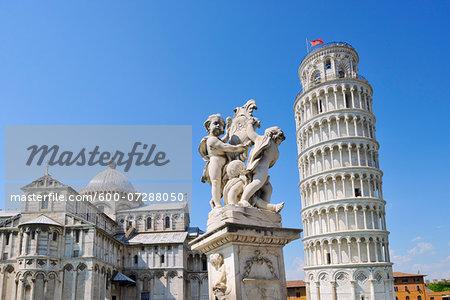 Fontana Dei Putti with Leaning Tower of Pisa and Duomo de Pisa, Piazza dei Miracoli, Pisa, Tuscany, Italy