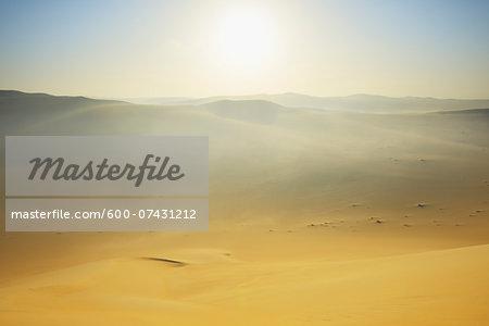 Sun over Sand Dunes with Morning Mist, Matruh, Great Sand Sea, Libyan Desert, Sahara Desert, Egypt, North Africa, Africa