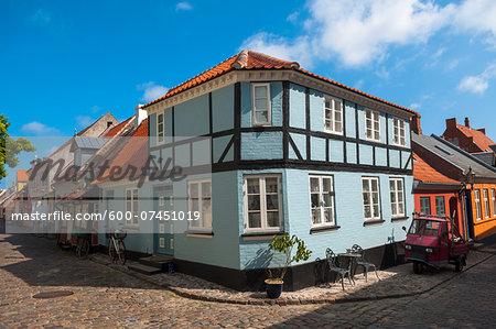 Typical painted houses and Cobblestone Street, Aeroskobing Village, Aero Island, Jutland Peninsula, Region Syddanmark, Denmark, Europe