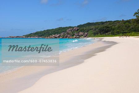 Indian Ocean and Grand Anse Beach, La Digue, Seychelles