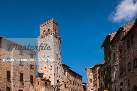 Tower and Buildings, Piazza della Cisterna, San Gimignano, Province of Siena, Tuscany, Italy