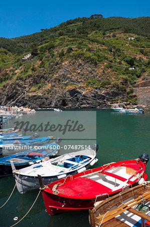 Boats in Water, Vernazza, Cinque Terre, La Spezia District, Italian Riviera, Liguria, Italy