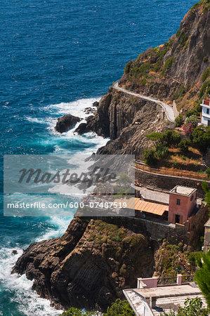 Overview of Coast, Riomaggiore, Cinque Terre, La Spezia District, Italian Riviera, Liguria, Italy