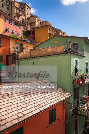 Houses, Manarola, Cinque Terre, La Spezia District, Italian Riviera, Liguria, Italy
