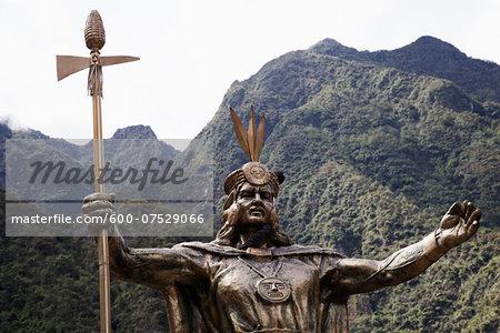 Statue of Pachacutec, Aguas Calientes, Urubamba Province, Cusco Region, Peru