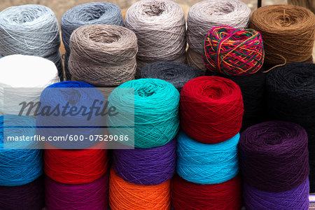 Yarns at Roadside Weaving Vendor, Altiplano Region, Peru