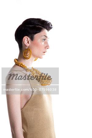 Portrait of Young Woman wearing Modern Jewellery, Studio Shot