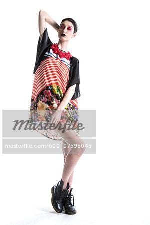 Portrait of Stylish Young Woman, Studio Shot