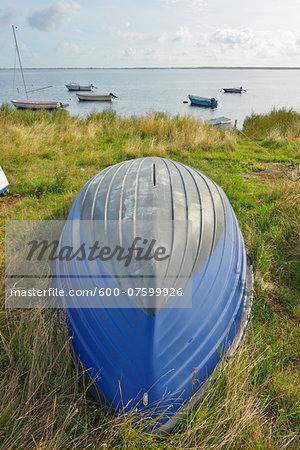 Boat docked on beach, Summer, Vitte, Baltic Island of Hiddensee, Baltic Sea, Western Pomerania, Germany