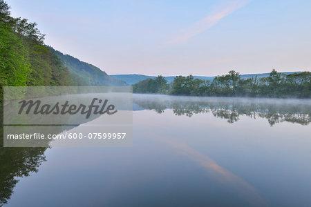 River Main in the Dawn, Spring, Dorfprozelten, Spessart, Franconia, Bavaria, Germany