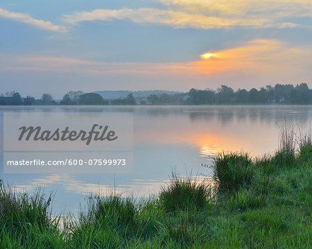 Lake at Sunrise, Ober-Moos, Grebenhain, Vogelsberg District, Hesse, Germany