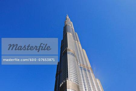 Looking up at Burj Khalifa with Blue Sky, Dubai, United Arab Emirates