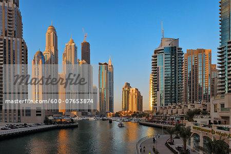 Skyscrapers at Dubai Marina at Sunset, Dubai, United Arab Emirates
