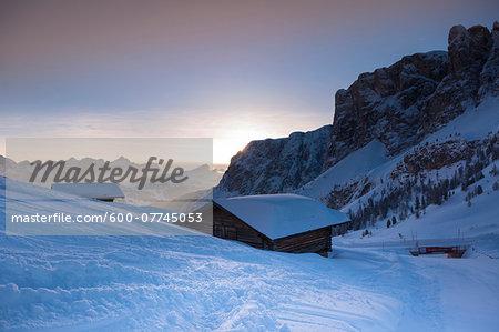 Mountain hut, Passo Gardena and Sella Group, Val Gardena, Bolzano District, Trentino Alto Adige, Dolomites, Italy