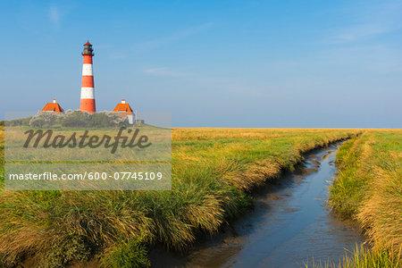 Westerhever Lighthouse, Eiderstedt, North Frisia, Schleswig-Holstein, Germany