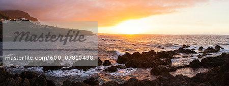 Dramatic Sunset on Atlantic Ocean from Black Lava Rocks, Garachico, Tenerife, Canary Islands