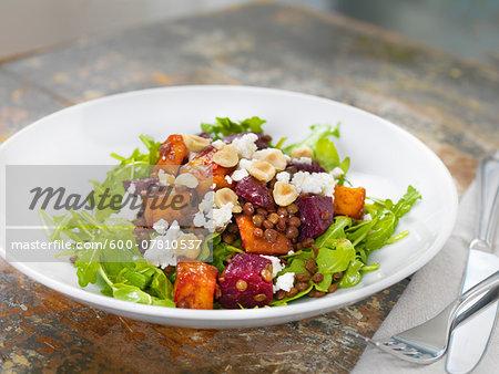 Lentil Salad with Greens, Beets, Feta Cheese, Hazelnuts and Sweet Potato, Studio Shot