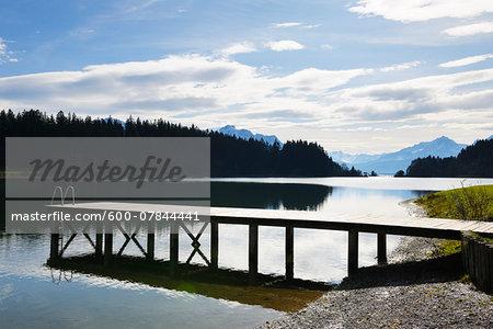 Wooden Jetty in Lake, Illasbergsee, Halblech, Bavaria, Germany