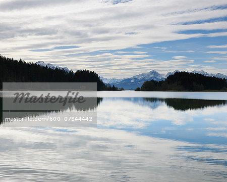 Lake with Mountain Range, Illasbergsee, Halblech, Bavaria, Germany