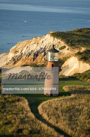 High angle view of the Gay Head Lighthouse on the island of Martha's Vineyard in Aquinnah, Massachusetts, USA