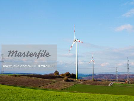 Wind Turbines in Countryside, Weser Hills, North Rhine-Westphalia, Germany