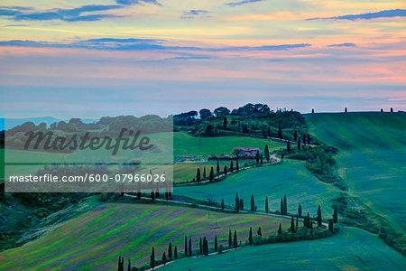 La Foce at Sunset, Val d'Orcia, Siena, Tuscany, Italy