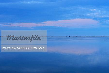 Lake at Dusk, Enfores de la Vignolle, Saintes-Maries-de-la-Mer, Camargue, Bouches-du-Rhone, Provence-Alpes-Cote d'Azur, France