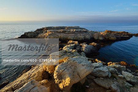 Rocky Coast at Dawn in Summer, La Couronne, Martigues, Cote Bleue, Mediterranean Sea, Bouches-du-Rhone, Provence-Alpes-Cote d'Azur, France