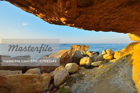 Rocky Coast in Summer, La Couronne, Martigues, Cote Bleue, Mediterranean Sea, Bouches-du-Rhone, Provence-Alpes-Cote d'Azur, France