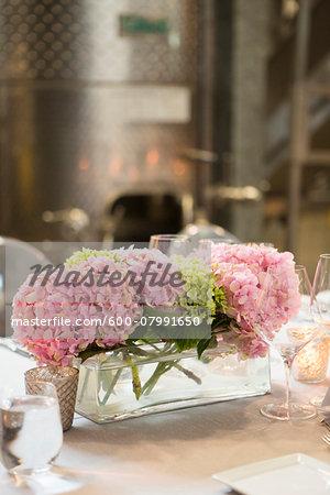 Hydrangea Centerpiece at Wedding Reception