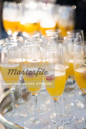 Close-up of Tray of Mimosas at Wedding Reception