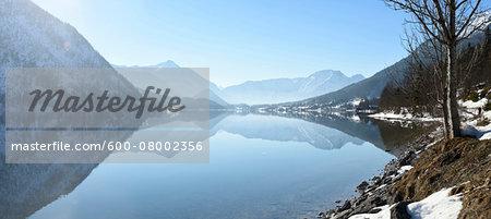 Landscape of Grundlsee Lake on Sunny Day in Winter, Liezen District, Styria, Austria