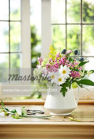 Bouquet Of Fresh Cut Flowers Containing Daisy Flox Sea Holly