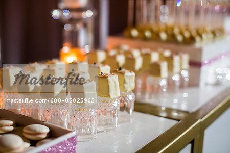 Cake Dessert Balanced on Crystal Glasses