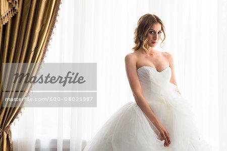 Portrait of Bride in Strapless Wedding Dress, Toronto, Ontario, Canada