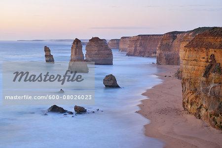 Limestone Stacks at Dusk, The Twelve Apostles, Princetown, Great Ocean Road, Victoria, Australia