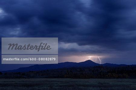 Lightning during Thuderstorm, Jackson, Grand Teton National Park, Wyoming, USA