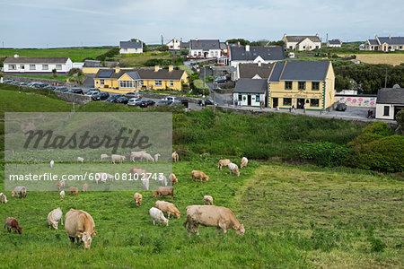 Scenic view of the coastal village of Doolin, Republic of Ireland