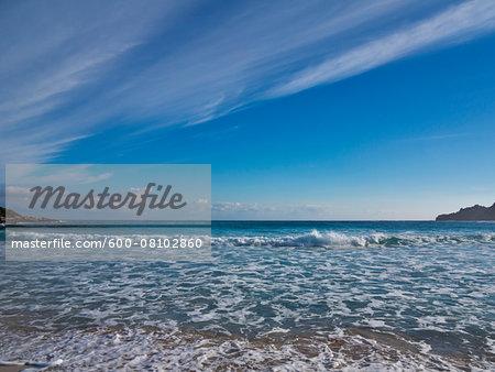 Beach with Breaking Waves, Majorca, Balearic Islands, Spain
