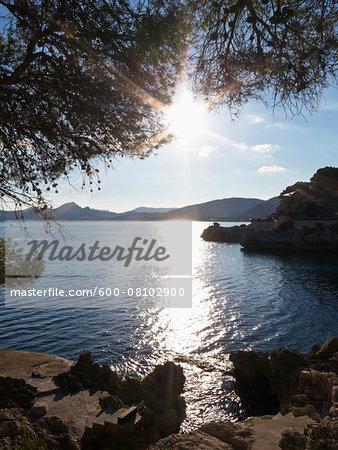 Sea Reflecting Sunlight on Bay, Cala Ratjada, Majorca, Balearic Islands, Spain