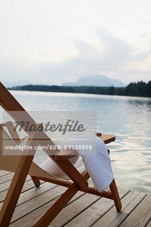 Deck Chair on Dock, Faaker See, Carinthia, Austria
