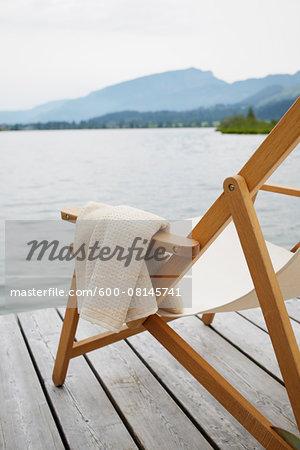 Deck Chair with Towel on Dock, Tirol, Austria