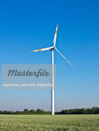 Wind turbine on farmland, Germany
