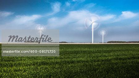 Wind turbines in field, Germany