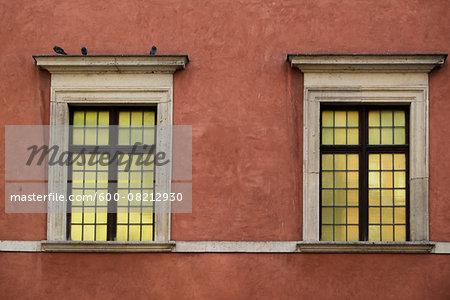 Architectural Detail of Windows, Stare Miasto, Warsaw, Poland