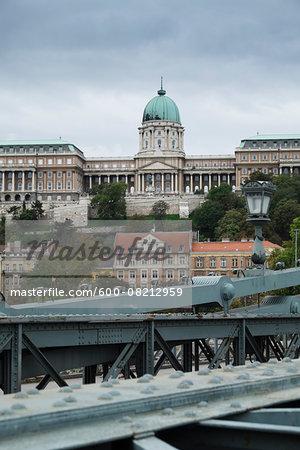 Hungarian National Gallery and Szechenyi Chain Bridge, Budapest, Hungary