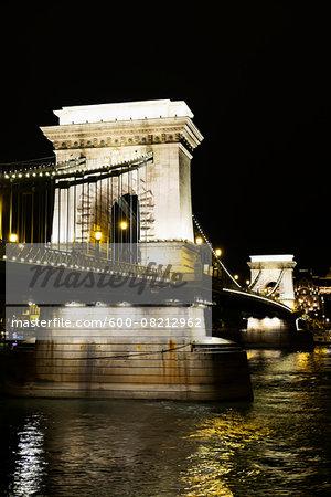 Arches of Szechenyi Chain Bridge Illuminated at Night, Budapest, Hungary