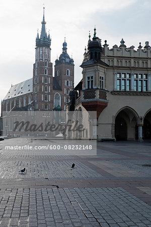 Church of the Holy Virgin Mary and Cloth Hall, Main Market Square, Krakow, Poland.