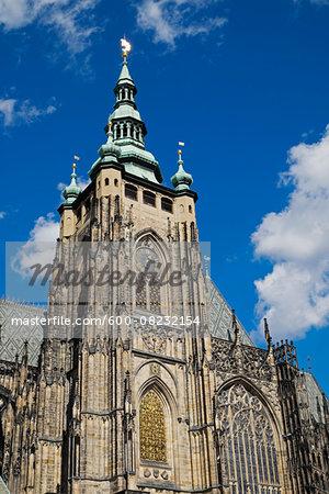 Close-up of St Vitus Cathedral, Prague, Czech Republic.