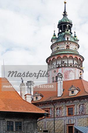 Close-up of tower, Cesky Krumlov Castle, Cesky Krumlov, Czech Republic.